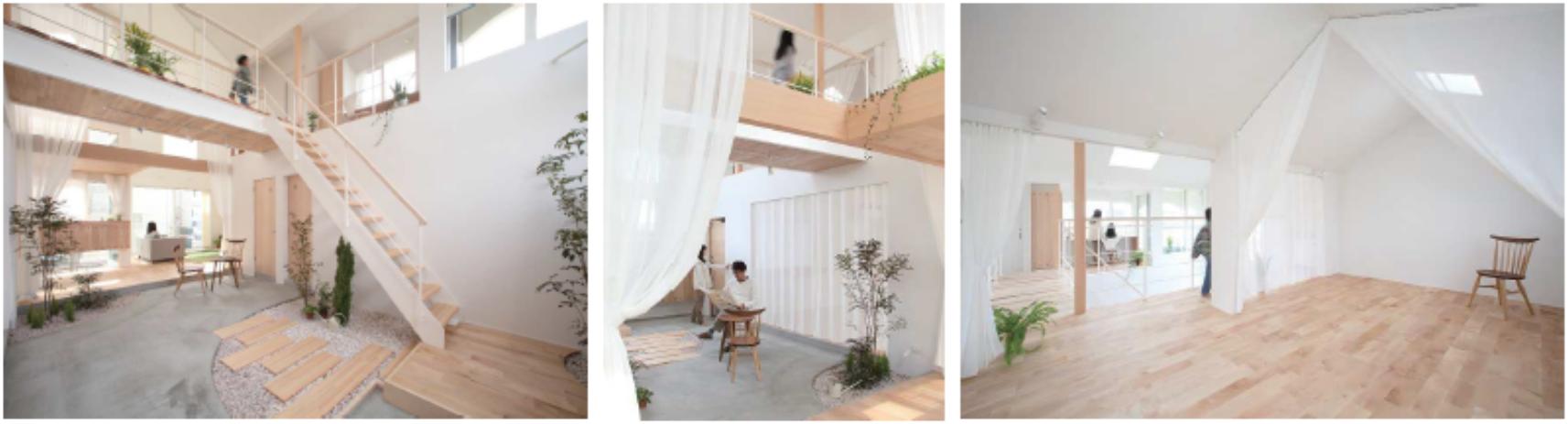 小舟木の家 土間スペースを中心とした間取り 居室は透け感のあるカーテンで緩やかに区切る