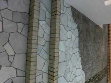 階段 レンガ 乱貼り石