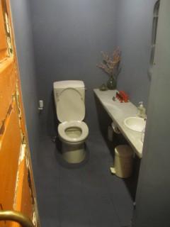 アンティークの扉があるトイレ
